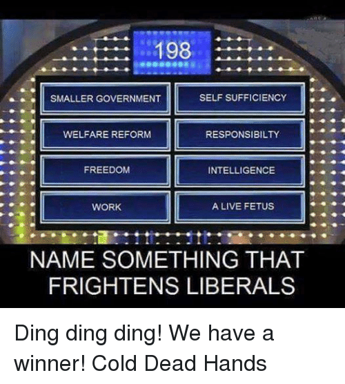 Name Something That: 198  SELF SUFFICIENCY  SMALLER GOVERNMENT  WELFARE REFORM  RESPONSIBILITY  FREEDOM  INTELLIGENCE  A LIVE FETUS  WORK  NAME SOMETHING THAT  FRIGHTENS LIBERALS Ding ding ding! We have a winner! Cold Dead Hands