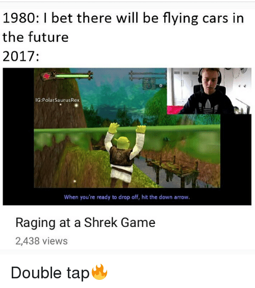 Cars, Future, and I Bet: 1980: I bet there will be flying cars in  the future  2017  IG: Polar SaurusRex  When you're ready to drop off, hit the down arrow.  Raging at a Shrek Game  2,438 views Double tap🔥