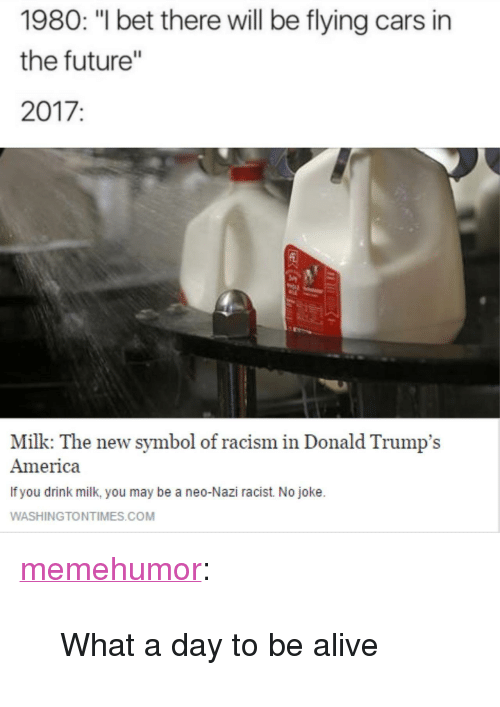 "Neo Nazi: 1980: ""l bet there will be flying cars in  the future'""  2017:  Milk: The new symbol of racism in Donald Trump's  America  If you drink milk, you may be a neo-Nazi racist. No joke.  WASHINGTONTIMES.COM <p><a href=""http://memehumor.net/post/160480958803/what-a-day-to-be-alive"" class=""tumblr_blog"">memehumor</a>:</p>  <blockquote><p>What a day to be alive</p></blockquote>"