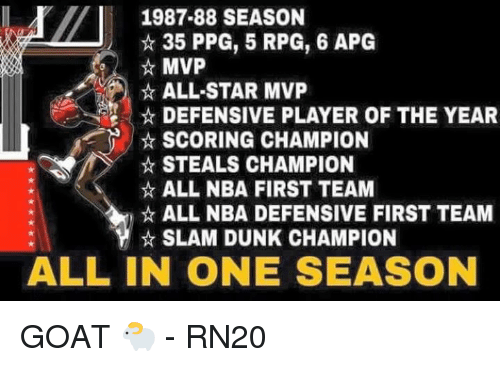 All Star, Dunk, and Memes: 1987-88 SEASON  35 PPG, 5 RPG, 6 APG  MVP  ALL-STAR MVP  DEFENSIVE PLAYER OF THE YEAR  SCORING CHAMPION  STEALS CHAMPION  ALL NBA FIRST TEAM  ALL NBA DEFENSIVE FIRST TEAM  SLAM DUNK CHAMPION  ALL IN ONE SEASON GOAT 🐑  - RN20