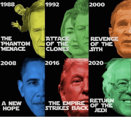 A New Hope: 1988  1992  2000  THE  PHANTOM OF THE  MENACE  ATTACK  CLONE  2016  REVENGE  OF THE  SITH  2008  2020  RETURN  A NEW  HOPE  THE EMPIRE BET  STRIKES BACK JED