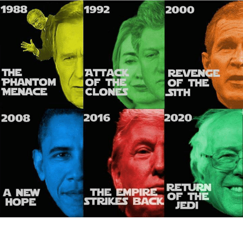 Jedi, Memes, and Revenge: 1988  THE  PHANTOM  MENACE  2008  A NEW  HOPE  1992  2000  ATTAC  REVENGE  OF THE  OF THE  CLONES  SITH  2016  2020  RETURN  THE EMPIRE  OF THE  STRIKES BACK  JEDI