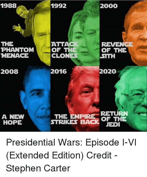 Jedi, Revenge, and Sith: 1988  THE  PHANTOM  MENACE  2008  A NEW  HOPE  1992  2000  ATTACK  REVENGE  OF THE  OF THE  CLONES  SITH  2016  2020  THE EMPIRE  RETURN  STRIKES BACK OF THE  JEDI Presidential Wars: Episode I-VI (Extended Edition)  Credit - Stephen Carter