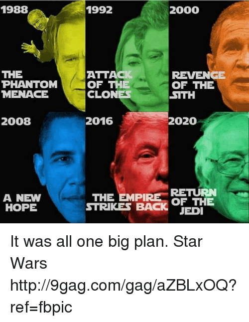 the phantom menace: 1988  THE  PHANTOM  MENACE  2008  A NEW  HOPE  1992  2000  ATTAC  REVENGE  OF THE  OF THE  CLONES  STTH  2016  2020  RETURN  THE EMPIRE  OF THE  STRIKES BAC  JEDI It was all one big plan. Star Wars http://9gag.com/gag/aZBLxOQ?ref=fbpic