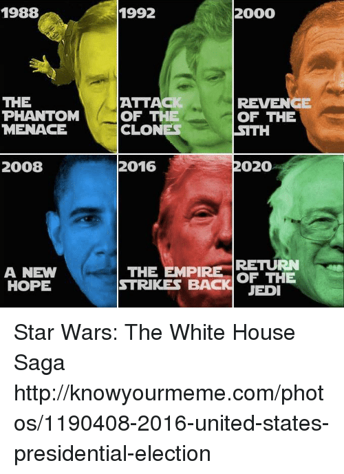 knowyourmeme: 1988  THE  PHANTOM  MENACE  2008  A NEW  HOPE  2000  1992  ATTACI  REVENGE  OF THE  OF THE  CLONES  SITH  2020  2016  THE EMPIRE  RETURN  OF THE  STRIKES BACK JEDI Star Wars: The White House Saga http://knowyourmeme.com/photos/1190408-2016-united-states-presidential-election