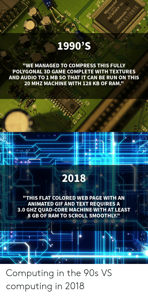 """textures: 1990'S  """"WE MANAGED TO COMPRESS THIS FULLY  POLYGONAL 3D GAME COMPLETE WITH TEXTURES  AND AUDIO TO 1 MB SO THAT IT CAN BE RUN ON THIS  20 MHZ MACHINE WITH 128 KB OF RAM.T  20181  """"THIS FLAT COLORED WEB PAGE WITH AN  ANIMATED GIF AND TEXT REQUIRES A  3.0 GHZ QUAD-CORE MACHINE WITH AT LEAST  8 GB OF RAM TO SCROLL SMOOTHLY. Computing in the 90s VS computing in 2018"""