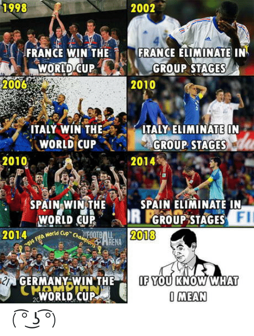 "Theif: 1998  2002  FRANCE WIN THE  FRANCE ELIMINATE IN  WORID C  UPGROUP STAGES  20068  2010  ITALY WÍN THEITALY LIMINATE ON  WORLD CUP···GROUP. STAGES  2010  2014  SPAIN WIN,THE  SPAIN ELIMINATE IN  FII  WORLD CUP  やworld Cup""chaeF00TBAL  GROUP STAGES  2014  2018  OA  ARENA  GERMANY WIN THEIF YOU KNOW WHAT  WORLD CUP  O MEAN ( ͡° ͜ʖ ͡°)"