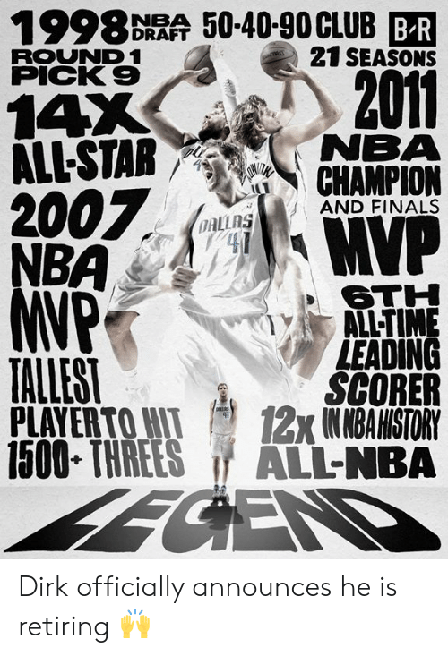 nema: 1998 DRAA 50-40-90CLUB BR  21 SEASONS  ROUND 1  PICK 9  2011  14X  ALL-STAR NEMA  7  AND FINALS  OAL  6TH  ALL-TIME  LEADING  SCORER  PLAYERTOWI 12x1NMBAHISTORY  1500 THREES ALL-NBA  TALLEST Dirk officially announces he is retiring 🙌