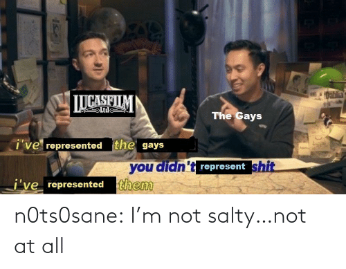 Being salty: 1Dablia  LUCASFILM  Ltde  The Gays  i've represented the gays  you didn't represent shit  j've represented them n0ts0sane:  I'm not salty…not at all