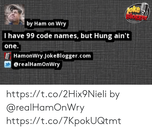 Code Names: 1oke  Bloce  by Ham on Wry  I have 99 code names, but Hung ain't  one.  HamonWry JokeBlogger.com  @realHamOnWry https://t.co/2Hix9NieIi by @realHamOnWry https://t.co/7KpokUQtmt