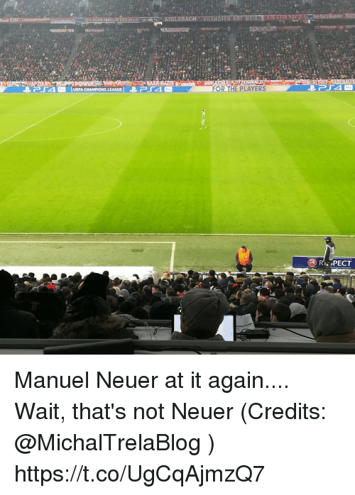Memes, Champions League, and Pro: 1OLIE FANCLUB 2000 uFuAIGLSBACH  HOFEN ROT WETS  ood  Nersingern  Pro  ㄕ-「4  lUEFA CHAMPIONS LEAGUE I  ↓P14  FOR THE PLAYERS  Pro  Pro Manuel Neuer at it again....      Wait, that's not Neuer  (Credits: @MichalTrelaBlog ) https://t.co/UgCqAjmzQ7