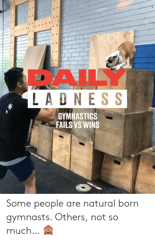 Gymnastics: 1s  DAILY  LADN ESS  GYMNASTICS  FAILS VS WINS Some people are natural born gymnasts. Others, not so much… 🙈