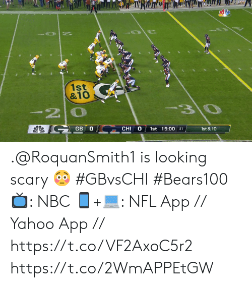 chi: 1st  &10  3\0  -20  GB  CHI  1st 15:00 :11  1st & 10 .@RoquanSmith1 is looking scary 😳 #GBvsCHI #Bears100  📺: NBC  📱+💻: NFL App // Yahoo App // https://t.co/VF2AxoC5r2 https://t.co/2WmAPPEtGW