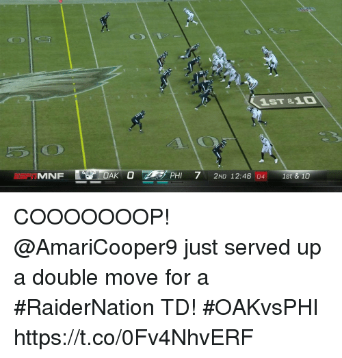 Memes, 🤖, and Phi: 1ST &10  MNF7 210 1246  PHI 2ND 12:46 04 1st & 10 COOOOOOOP!   @AmariCooper9 just served up a double move for a #RaiderNation TD!  #OAKvsPHI https://t.co/0Fv4NhvERF