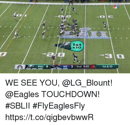 Blount: 1st  &10  PHI 9  NE 3 2nd 8:55 :031st & 10 WE SEE YOU, @LG_Blount!  @Eagles TOUCHDOWN! #SBLII #FlyEaglesFly https://t.co/qigbevbwwR