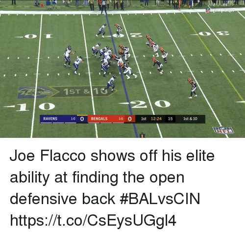 Andrew Bogut, Sports, and Ravens: 1ST &110  RAVENS  1-0 O BENG  ALS 10  1st 12:24 15  1st & 10 Joe Flacco shows off his elite ability at finding the open defensive back #BALvsCIN https://t.co/CsEysUGgl4