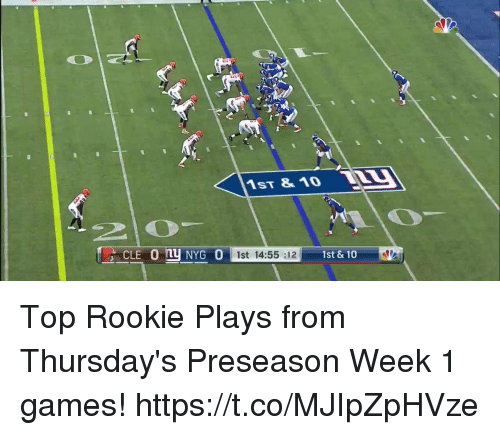 Memes, Games, and 🤖: 1ST &1O W  1st 14:55 :12  1st & 10 Top Rookie Plays from Thursday's Preseason Week 1 games! https://t.co/MJIpZpHVze