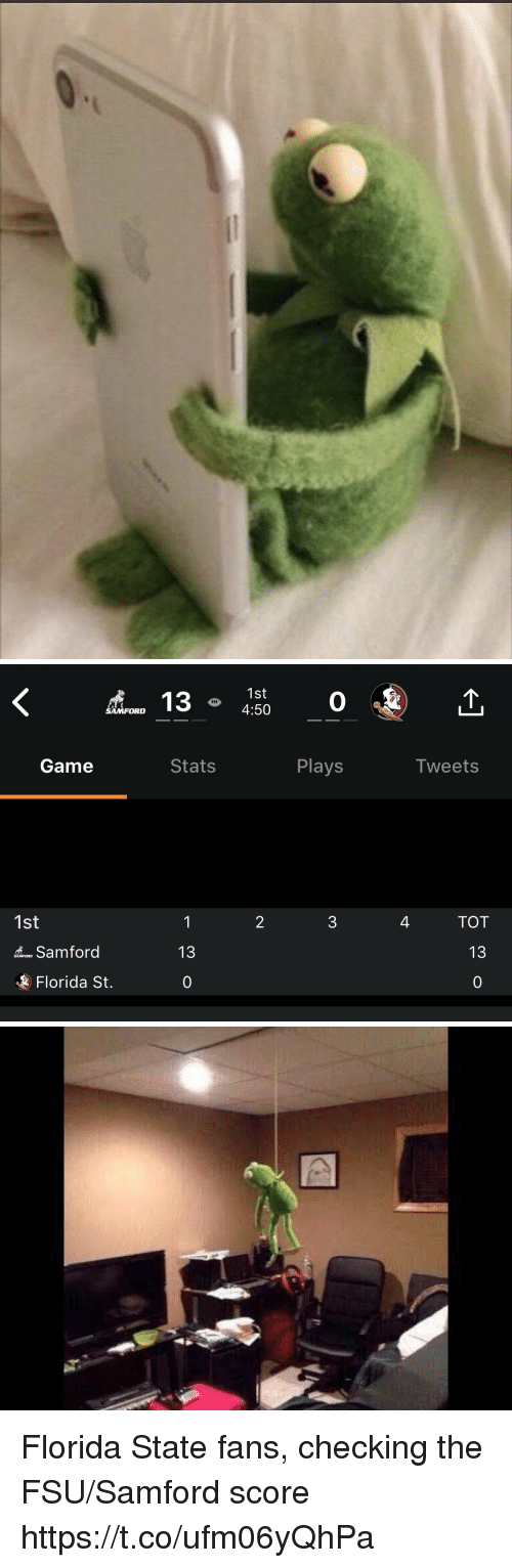FSU Florida State University: 1st  4:50  0  SAMFORD  Game  Stats  Plays  Iweets  2  4  TOT  1st  13  o Samford  Florida St.  0 Florida State fans, checking the FSU/Samford score https://t.co/ufm06yQhPa