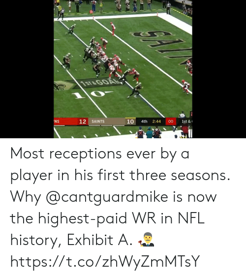 Exhibit: 1ST&GOAL  12  10  NS  SAINTS  00  4th  2:44  1st & Most receptions ever by a player in his first three seasons.  Why @cantguardmike is now the highest-paid WR in NFL history, Exhibit A. 👨⚖️ https://t.co/zhWyZmMTsY