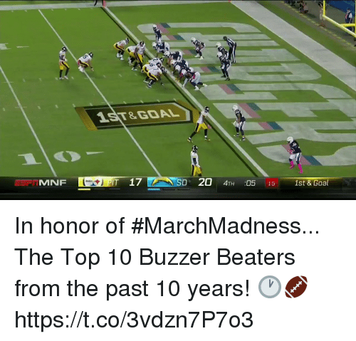 Memes, Goal, and 🤖: 1ST&GOAL  MNF  T 17  D 20 4TH :05 15 1st & Goal In honor of #MarchMadness...  The Top 10 Buzzer Beaters from the past 10 years! 🕐🏈 https://t.co/3vdzn7P7o3