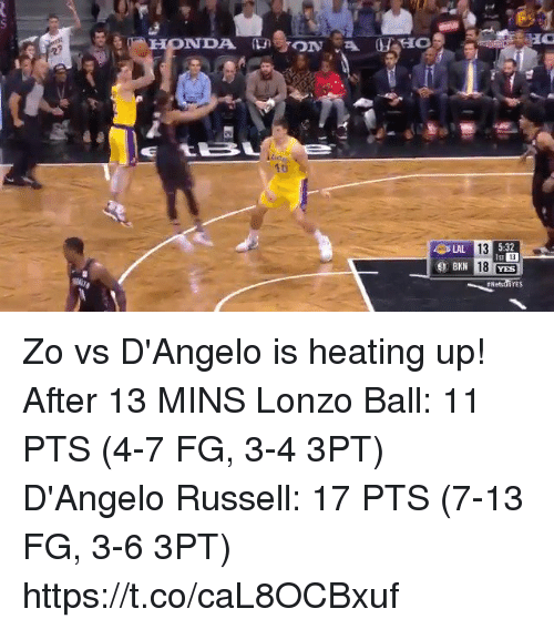 Lonzo Ball: 1t  5:32  13  18 YES  LAL  13  YES Zo vs D'Angelo is heating up!   After 13 MINS Lonzo Ball: 11 PTS (4-7 FG, 3-4 3PT) D'Angelo Russell: 17 PTS (7-13 FG, 3-6 3PT)   https://t.co/caL8OCBxuf