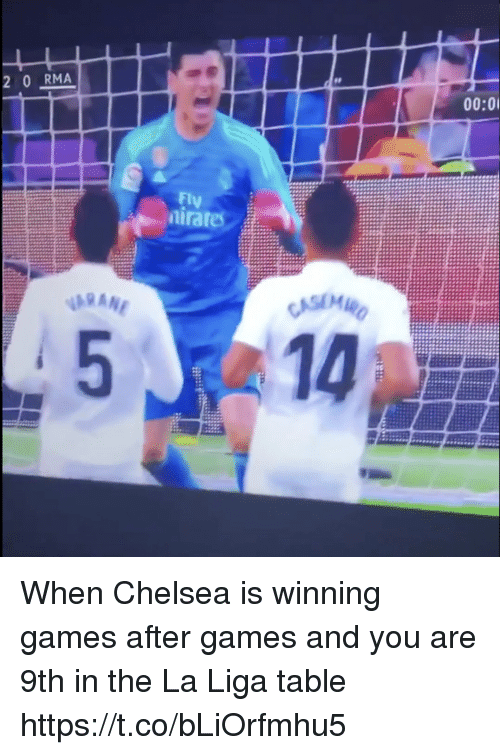 raf: 2 0 RMA  00:0  Fly  raf When Chelsea is winning games after games and you are 9th in the La Liga table https://t.co/bLiOrfmhu5