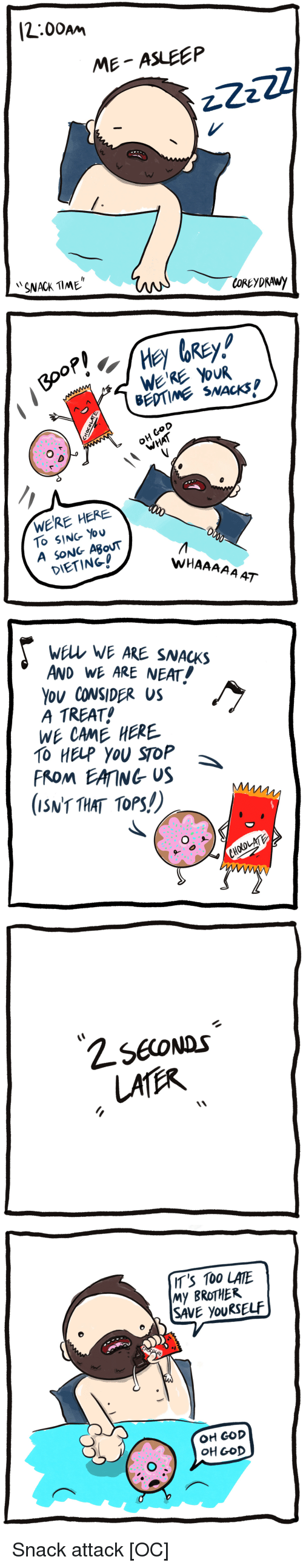 Dieting: [2:00am  ME ASLEEP  SNACK TlME   BEDTIME SNACKS  O D  OH CoD  WERE HERE  To SING You  A SONG ABouT  DIETING!  WHAAAAA AT   wELL WE ARE SNACKS  AND WE ARE NEAT!  Ou CONSIDER US  A TREAT  WE CAME HERE  TO HELP YOU SToP  FROM EAING US  (ISNT THAT TOPS!)   IT'S 100 LATE  My BROTHER  SAVE youRSELF  OH GOD  OH GOD Snack attack [OC]