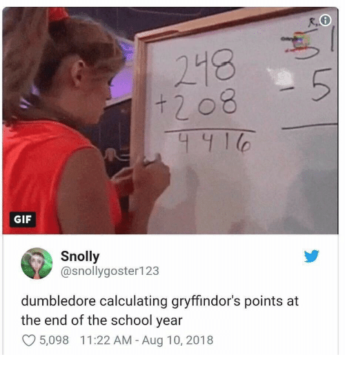 Calculating: + 2 08  441  GIF  Snolly  @snollygoster123  dumbledore calculating gryffindor's points at  the end of the school year  5,098  1 1 :22 AM-Aug 10, 2018