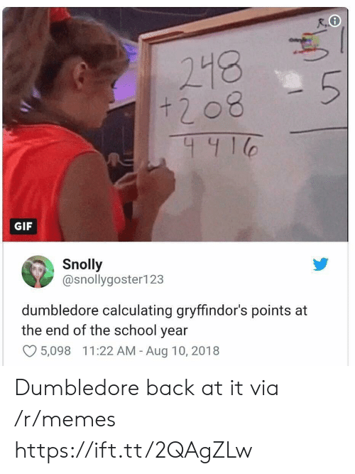 End Of The School Year: + 2 08  441  GIF  Snolly  @snollygoster123  dumbledore calculating gryffindor's points at  the end of the school year  O5,098 11:22 AM - Aug 10, 2018 Dumbledore back at it via /r/memes https://ift.tt/2QAgZLw