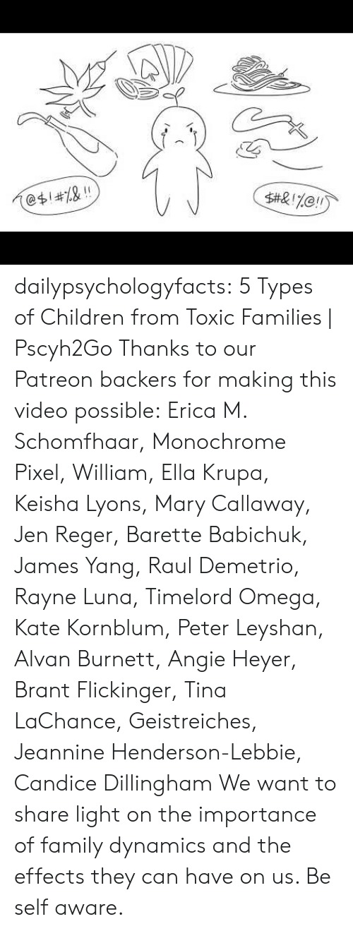 Omega: 2  @$1#7.& !! dailypsychologyfacts: 5 Types of Children from Toxic Families | Pscyh2Go Thanks to our Patreon backers for making this video possible:Erica M. Schomfhaar, Monochrome Pixel, William, Ella Krupa, Keisha Lyons, Mary Callaway, Jen Reger, Barette Babichuk, James Yang, Raul Demetrio, Rayne Luna, Timelord Omega, Kate Kornblum, Peter Leyshan, Alvan Burnett, Angie Heyer, Brant Flickinger, Tina LaChance, Geistreiches, Jeannine Henderson-Lebbie, Candice Dillingham  We want to share light on the importance of family dynamics and the effects they can have on us. Be self aware.