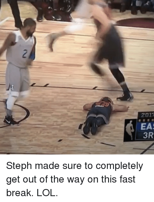 Basketball, Golden State Warriors, and Lol: 2  2017  EAS  3R Steph made sure to completely get out of the way on this fast break. LOL.