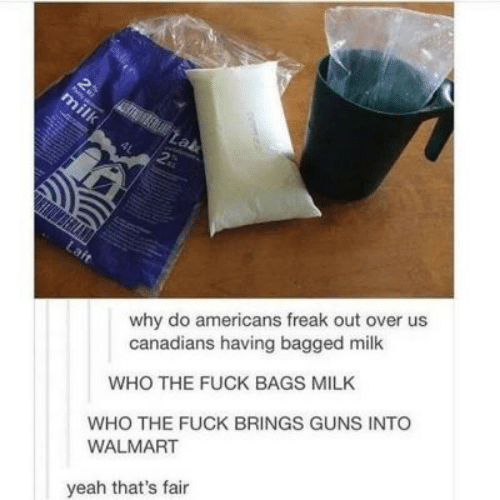 Canadians: 2  30  milk  Lab  2  why do americans freak out over us  canadians having bagged milk  Lait  WHO THE FUCK BAGS MILK  WHO THE FUCK BRINGS GUNS INTO  WALMART  yeah that's fair  ma