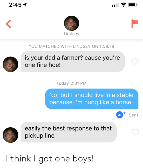 hoe: 2:45 1  Lindsey  YOU MATCHED WITH LINDSEY ON 12/9/19  is your dad a farmer? cause you're  one fine hoe!  Today 2:31 PM  No, but I should live in a stable  because l'm hung like a horse.  Sent  easily the best response to that  pickup line I think I got one boys!