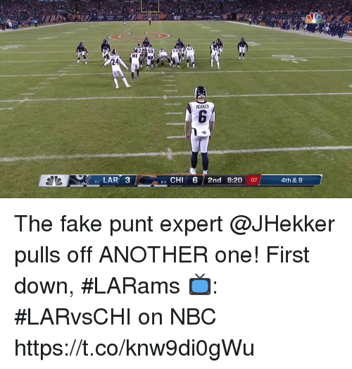 punt: 2  53  24  HEKKER  LAR 3  4 CHI 6 2nd 8:20 :07  8-4  4th & 8 The fake punt expert @JHekker pulls off ANOTHER one!  First down, #LARams  📺: #LARvsCHI on NBC https://t.co/knw9di0gWu