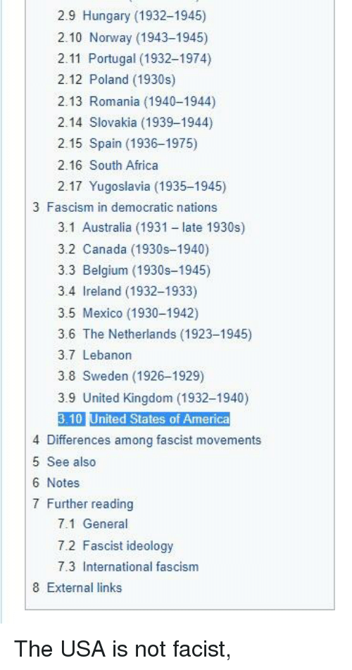 Africa, America, and Belgium: 2.9 Hungary (1932-1945)  2.10 Norway (1943-1945)  2.11 Portugal (1932-1974)  2.12 Poland (1930s)  2.13 Romania (1940-1944)  2.14 Slovakia (1939-1944)  2.15 Spain (1936-1975)  2.16 South Africa  2.17 Yugoslavia (1935-1948)  3 Fascism in democratic nations  3.1 Australia (1931 - late 1930s)  3.2 Canada (1930s-1940)  3.3 Belgium (1930s-1945)  3.4 Ireland (1932-1933)  3.5 Mexico (1930-1942)  3.6 The Netherlands (1923-1945)  3.7 Lebanon  3.8 Sweden (1926-1929)  3.9 United Kingdom (1932-1940)  3.10 United States of America  4 Differences among fascist movements  5 See also  6 Notes  7 Further reading  7.1 General  7.2 Fascist ideology  7.3 International fascism  8 External links