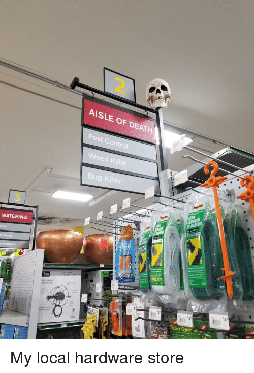 pest: 2.  AISLE OF DEATH  Pest Control  Weed Killer  Bug Killer  3  WATERING  ses  Basics  se Reels  e Hangers  RD  WALL MOUNT  SWIVEL REE  EASY ASSEMBLY  Crank Gop  Heavy Duty Bracket  Mouning System  WEB  Can Oper 4t v My local hardware store