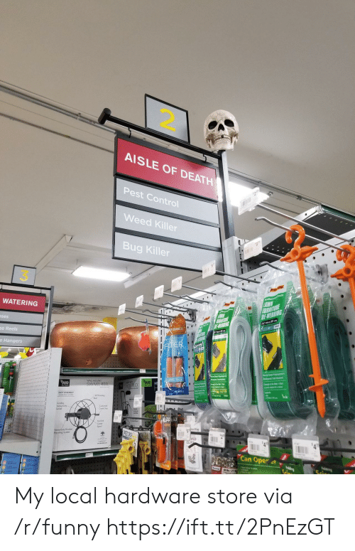 pest: 2.  AISLE OF DEATH  Pest Control  Weed Killer  Bug Killer  3  WATERING  ses  Basics  se Reels  e Hangers  RD  WALL MOUNT  SWIVEL REE  EASY ASSEMBLY  Crank Gop  Heavy Duty Bracket  Mouning System  WEB  Can Oper 4t v My local hardware store via /r/funny https://ift.tt/2PnEzGT