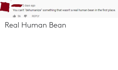 """A Real Human Bean: 2 days ago  You can't """"dehumanize"""" something that wasn't a real human bean in the first place.  56  REPLY Real Human Bean"""