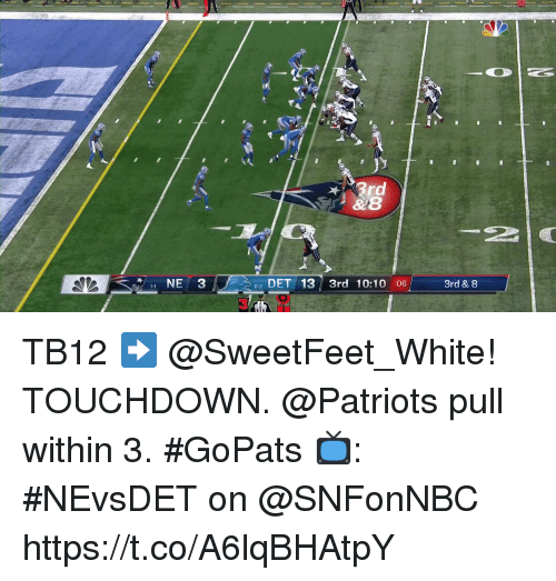 Memes, Patriotic, and White: 2 DET 13 3rd 10:10 :06  3  3rd & 8 TB12 ➡️ @SweetFeet_White! TOUCHDOWN.  @Patriots pull within 3. #GoPats  📺: #NEvsDET on @SNFonNBC https://t.co/A6lqBHAtpY