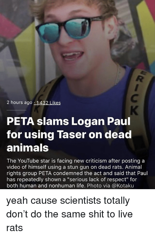 """kotaku: 2 hours ago 1,432 Likes  PETA slams Logan Paul  for using Taser on dead  animals  The YouTube star is facing new criticism after posting a  video of himself using a stun gun on dead rats. Animal  rights group PETA condemned the act and said that Paul  has repeatedly shown a """"serious lack of respect for  both human and nonhuman life. Photo via @Kotaku yeah cause scientists totally don't do the same shit to live rats"""