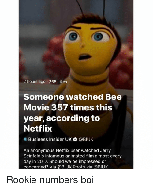 Bee Movie, Netflix, and Anonymous: 2 hours ago 365 Likes  Someone watched Bee  Movie 357 times this  year, according to  Netflix  Business Insider UK ● @BIUK  An anonymous Netflix user watched Jerryy  Seinfeld's infamous animated film almost every  day in 2017. Should we be impressed or  concerned? Via @BIUK Photo via @BIUK Rookie numbers boi