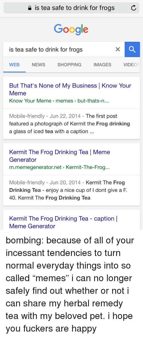 "know your meme: 2 is tea safe to drink for frogs  C  Google  is tea safe to drink for frogs  WEB  NEWS  SHOPPING  IMAGES  VIDEOS  But That's None of My Business Know Your  Meme  Know Your Meme > memes  >but-thats-n  ...  Mobile-friendly - Jun 22, 2014- The first post  featured a photograph of Kermit the Frog drinking  a glass of iced tea with a caption  Kermit The Frog Drinking Tea | Meme  Generator  m.memegenerator.net Kermit-The-Frog..  Mobile-friendly - Jun 20, 2014 - Kermit The Frog  Drinking Tea enjoy a nice cup of I dont give a F.  40. Kermit The Frog Drinking Tea  Kermit The Frog Drinking Tea - caption |  Meme Generator bombing: because of all of your incessant tendencies to turn normal everyday things into so called ""memes"" i can no longer safely find out whether or not i can share my herbal remedy tea with my beloved pet. i hope you fuckers are happy"