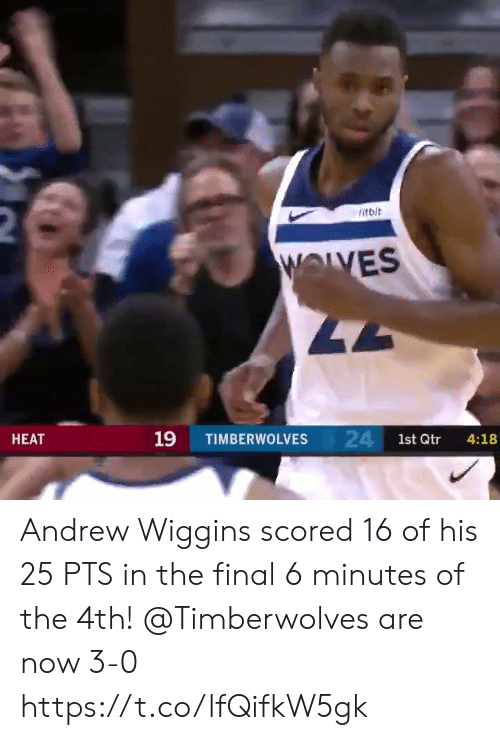 timberwolves: 2  itbit  WOLVES  47  24 1st Qtr  19  НЕАТ  TIMBERWOLVES  4:18 Andrew Wiggins scored 16 of his 25 PTS in the final 6 minutes of the 4th!   @Timberwolves are now 3-0  https://t.co/lfQifkW5gk