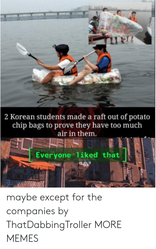 Korean: 2 Korean students made a raft out of potato  chip bags to prove they have too much  air in them.  Everyone liked that maybe except for the companies by ThatDabbingTroller MORE MEMES