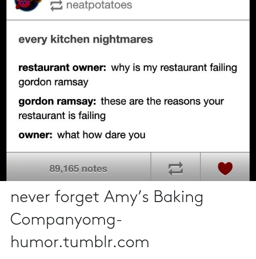 Kitchen Nightmares: 2 neatpotatoes  every kitchen nightmares  restaurant owner: why is my restaurant failing  gordon ramsay  gordon ramsay: these are the reasons your  restaurant is failing  owner: what how dare you  89,165 notes never forget Amy's Baking Companyomg-humor.tumblr.com