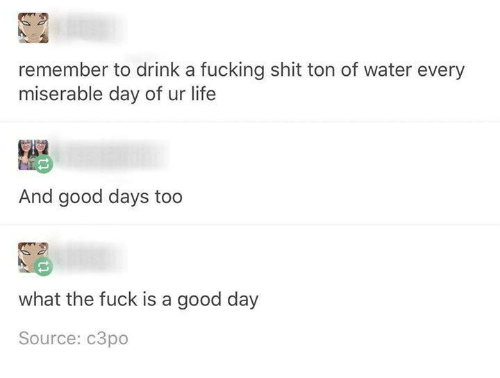 Fucking, Life, and Shit: 2  remember to drink a fucking shit ton of water every  miserable day of ur life  And good days too  what the fuck is a good day  Source: c3po