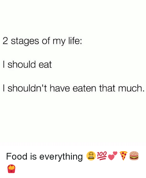Food, Life, and Memes: 2 stages of my life:    should eat  I shouldn't have eaten that much Food is everything 😩💯💕🍕🍔🍟