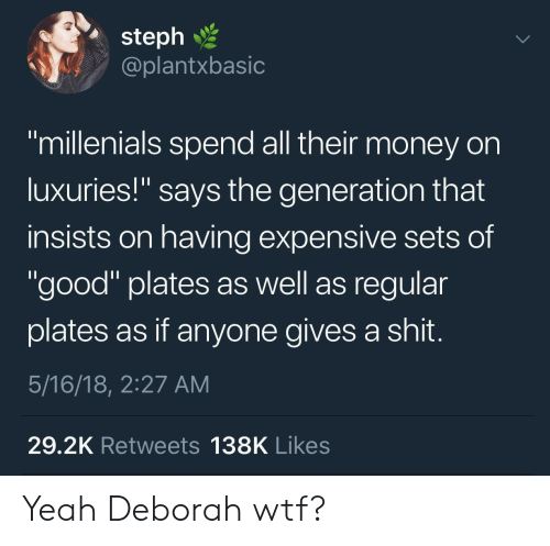 "Money, Wtf, and Yeah: 2  steph  @plantxbasic  ""millenials spend all their money on  luxuries!"" says the generation that  insists on having expensive sets of  ""good"" plates as well as regular  plates as if anyone gives a shit  5/16/18, 2:27 AM  29.2K Retweets 138K Likes Yeah Deborah wtf?"