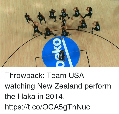 Memes, New Zealand, and 🤖: 2 Throwback: Team USA watching New Zealand perform the Haka in 2014. https://t.co/OCA5gTnNuc