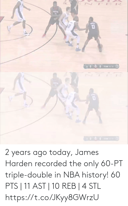 triple double: 2 years ago today, James Harden recorded the only 60-PT triple-double in NBA history!   60 PTS | 11 AST | 10 REB | 4 STL   https://t.co/JKyy8GWrzU